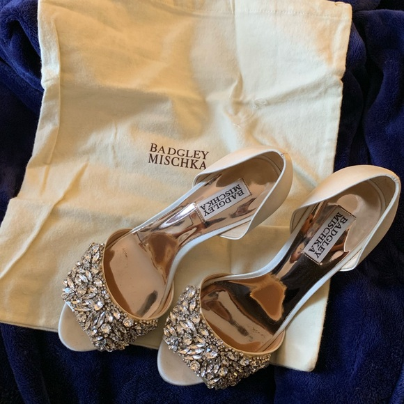 a56efb54b Badgley Mischka Shoes | Badgley Mishka Hansen Satin Jeweled Peeptoe ...